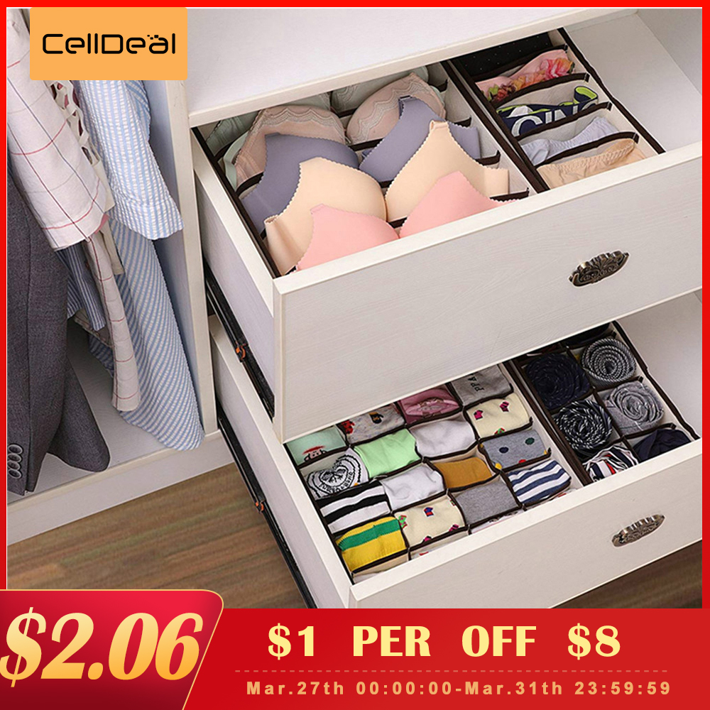 CellDeal Multi-size Foldable Storage Boxes Underwear Closet Drawer Divider Lidded Closet Organizer For Ties Socks Bra Underwea