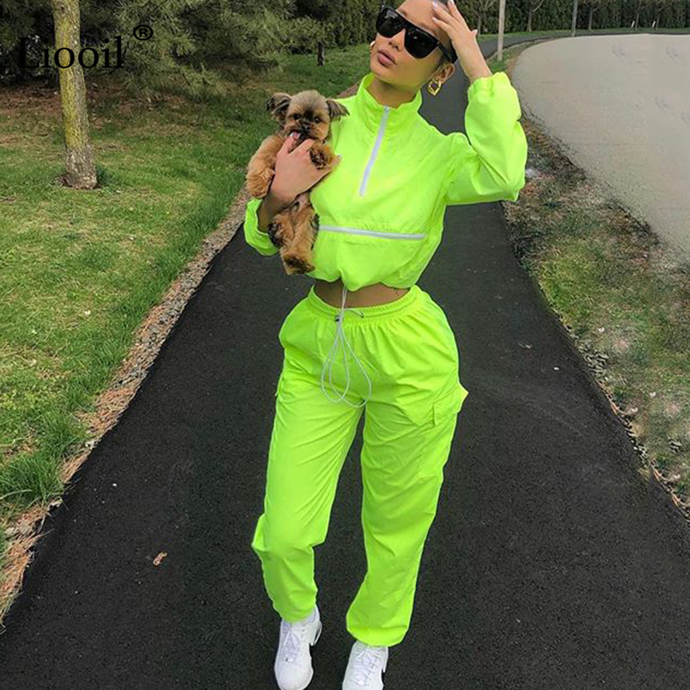 Liooil Neon Green Women Outfits Two Piece Set Tracksuit Fall 2019 Long Sleeve Zip Up Crop Top And Sweatpants Joggers Suit Sets