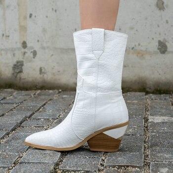 De las mujeres de la moda botas de cuero de la Pu de cuñas tobillo botas de otoño e invierno botas de vaquero del Western señaló mujer botas Zapatos de tacón alto 2019