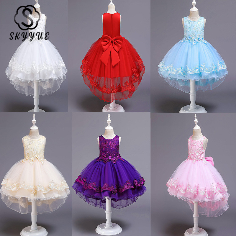 Skyyue   Flower     Girl     Dress   2019 Elegant Blue High Low Length Kid Party Gowns Bow Lace Wedding Communion   Dresses   for   Girls   188