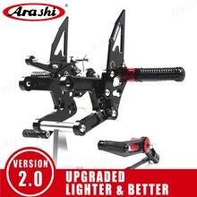 Arashi עבור ימאהה YZF R6 2003   2018 CNC מתכוונן הדום אופנוע Rearset Footpegs YZF R6 2011 2012 2013 2014 2015 2016