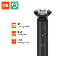 Xiaomi Mijia электробритва, Мужская бритва, триммер для бороды, 3 головки, гибкий, сухой, влажный, моющийся, основное-Sub, двойное лезвие, турбо+ режим, бритва