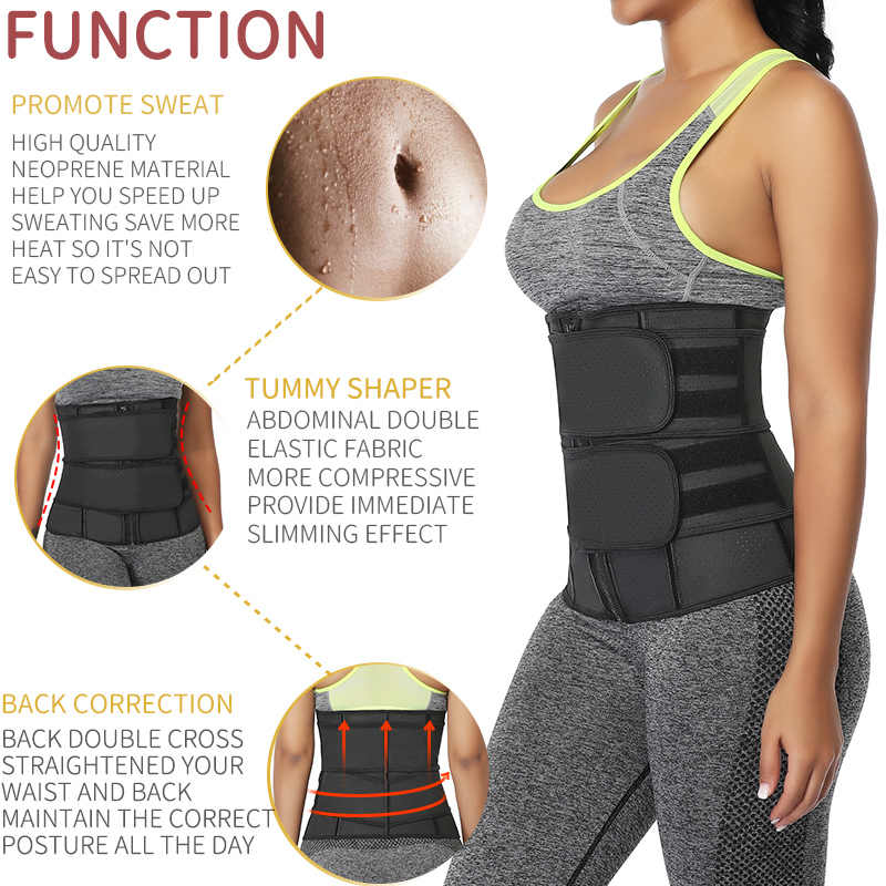 ผู้หญิงออกกำลังกายเอวเทรนเนอร์ Tummy Slimming Sheath Trimmer เข็มขัด Shapewear ซาวน่า Body Shaper Corset Sweat ลด Girdles