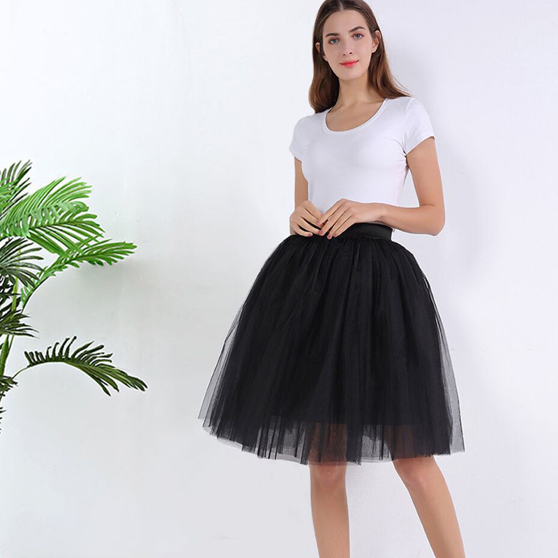 7 Layers Midi A Line Tutu Tulle Skirt High Waist Pleated Skater Skirts Womens Vintage Lolita Ball Gown Summer 2020 Saias Jupe