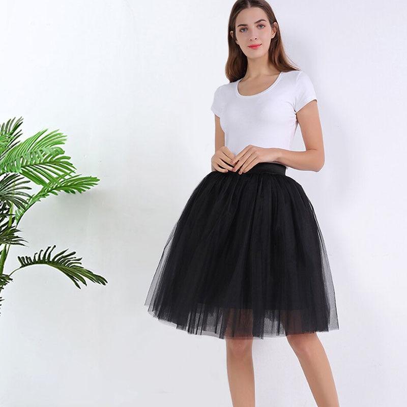 7 Layers Midi A Line Tutu Tulle Skirt High Waist Pleated Skater Skirts Womens Vintage Lolita Ball Gown Summer 2020 Saias Jupe