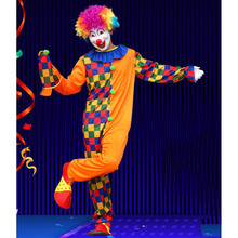 Circus Clown Costume Comedy Grids Adult Outfit Funny Party Fancy Dress as a clown cosplay suit with headwear