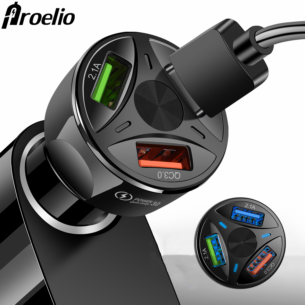 Usb-Car-Charger iPhone Huawei Xiaomi Samsung Fast 3-Ports for Qc-3.0