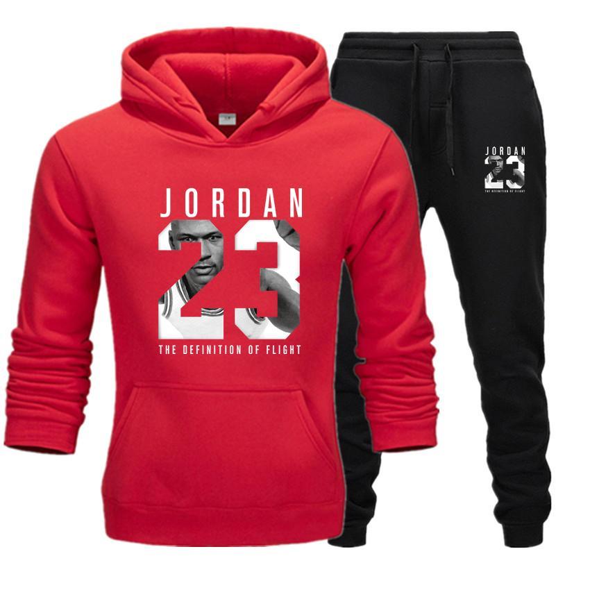 New 2020 Brand Tracksuit Fashion JORDAN 23 Men Sportswear Two Piece Sets Cotton Fleece Thick Hoodie+Pants Sporting Suit Male 3XL
