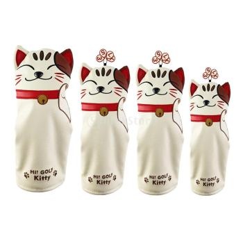 Cute Cat Golf Club Head Cover NO. 1 3 5 Wood Driver Headcover Driver/Fairway /Hybrid UT Headcover PU leather Headcover Protector golf clubs driver putter headcover no1 driver cartoon animal wood headcover clubs protection covers