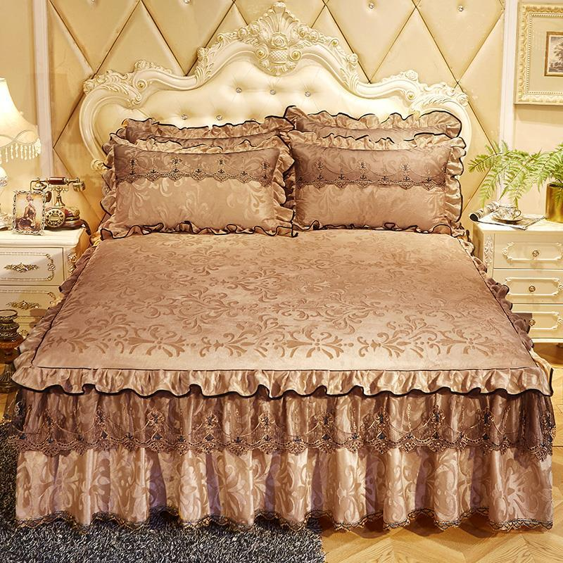 3 Pcs Bedspread on The Bed Luxury Lace Bed Skirt Thicken Beautiful Bed Linen Cal Bedding Sheets Home Bedspreads Queen/King Size