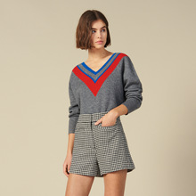 2019 Autumn Sweater Contrast Color V Neck Loose Knitted Casual Women Wear O-Neck Pullovers