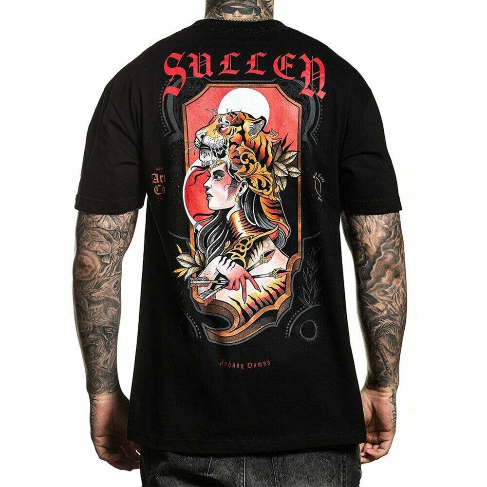 Sullen MenS Domus Tiger Short Sleeve T Shirt Black Clothing Apparel Tattooed T Present Casual Tee Shirt(China)