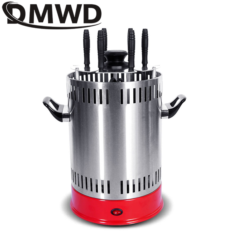 DMWD Electric Grill Oven Barbeque Machine Skewer Kebab BBQ Smokeless Indoor Outdoor Automatic Rotating Heating Stove 6 Skewers