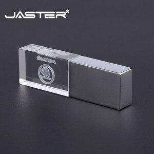 JASTER USB flash drive usb2.0 skoda crystal metal pendrive 4GB 8GB 16GB 32GB 64GB 128GB thumb drive memory stick u disk