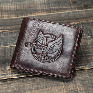 Image 5 - CONTACTS 100% Genuine Leather Men Wallet Coin Purse Small Card Holder Portomonee Male Wallets Vintage Money Bag Carteira Brand