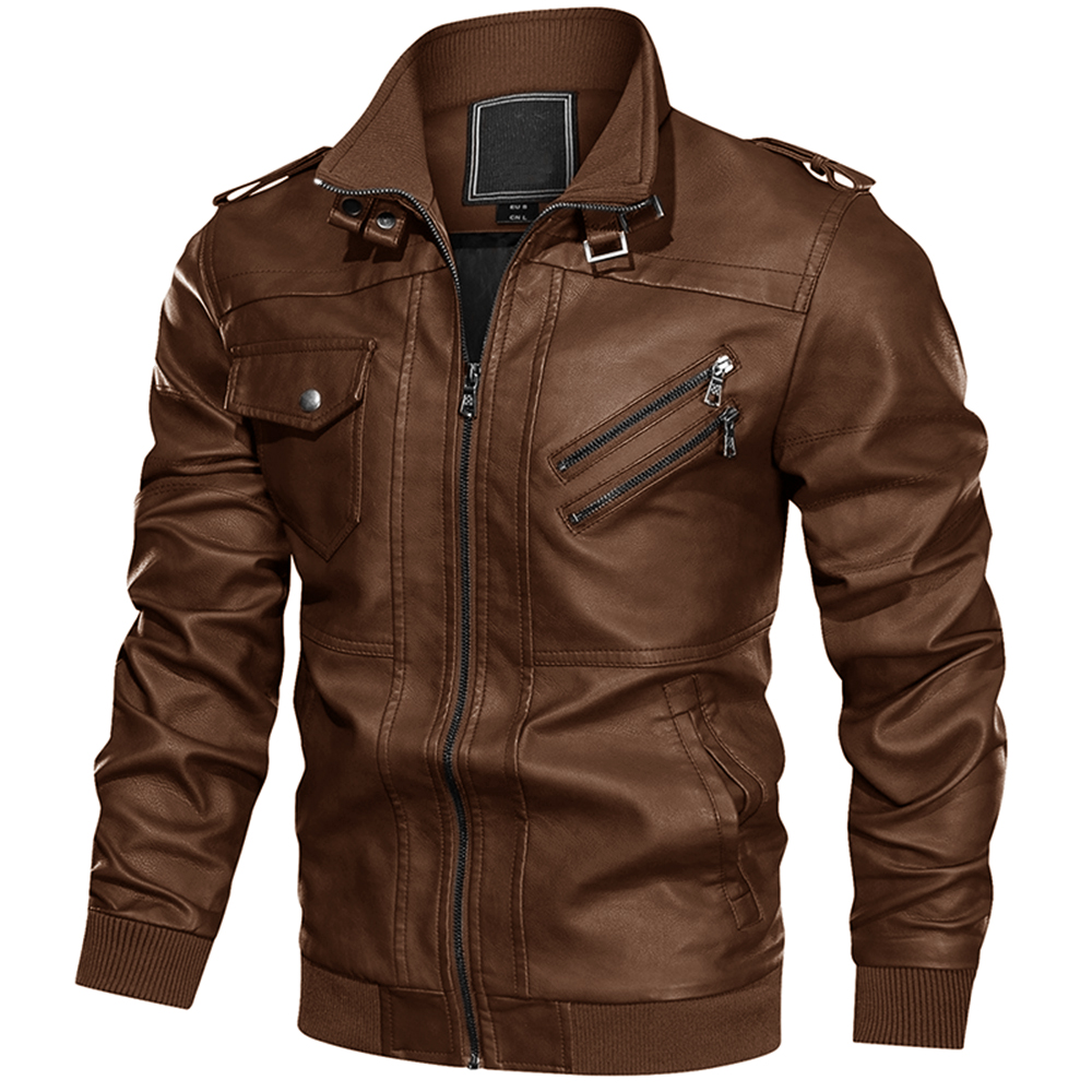 Mens Leather Fashion Coats Multi Pockets Long Sleeve PU Leather Outerwears