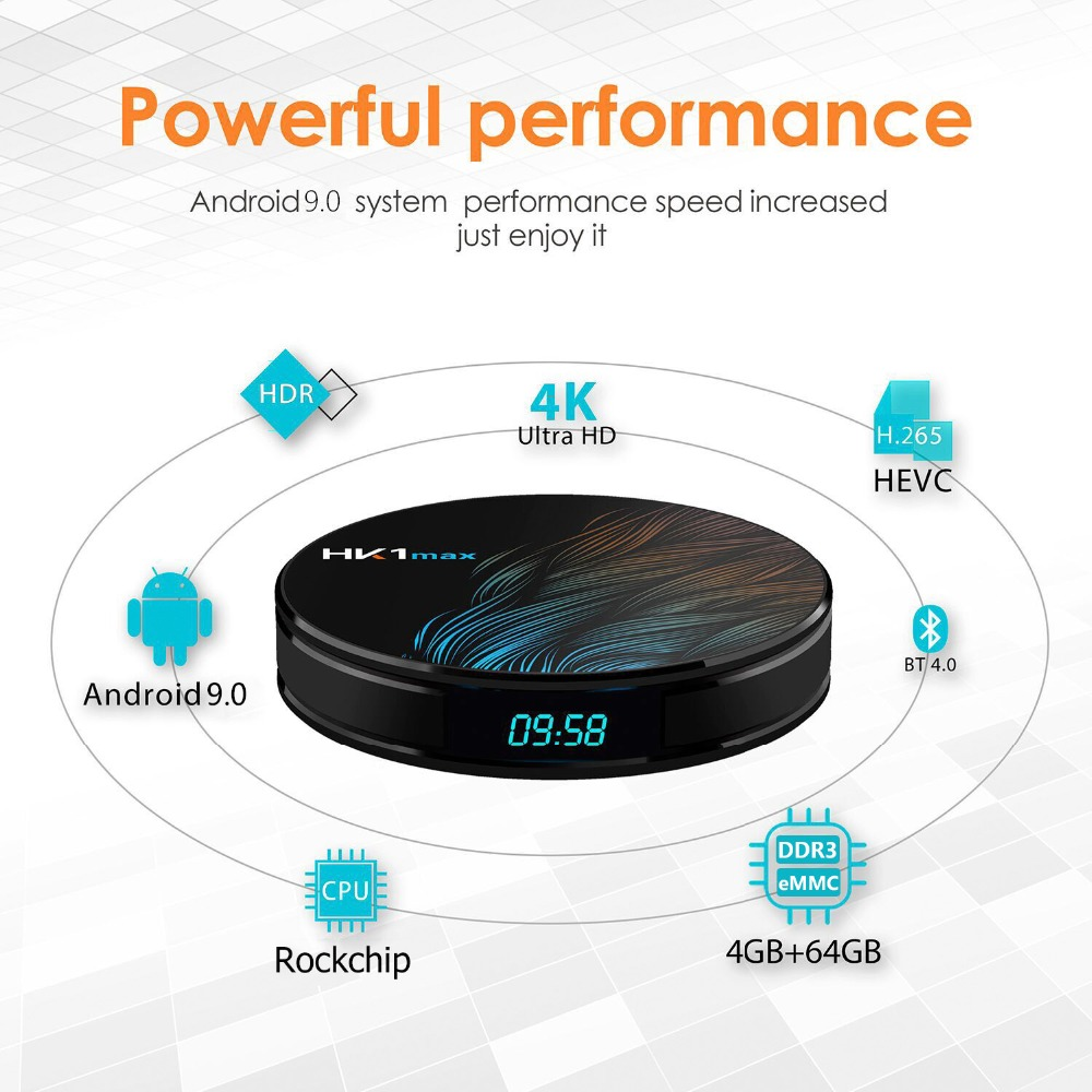 Caixa esperta hk1max android 9.0 2.4g 5g