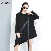 XITAO Irregular Sequin T Shirt Women Fashion New Pullover 2019 Autumn Elegant Pleated Small Fresh Black White Tee Top GCC2222