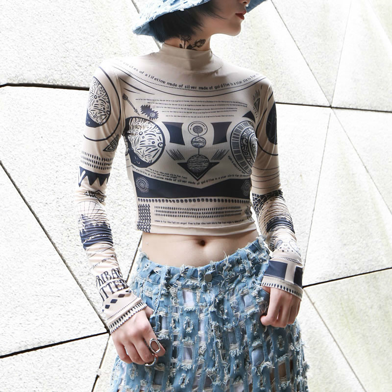 TVVOVVIN Vintage géométrique maille T Shirt Sexy court femmes vêtements 2019 crème solaire Slim Match tout automne nouvelle mode C159