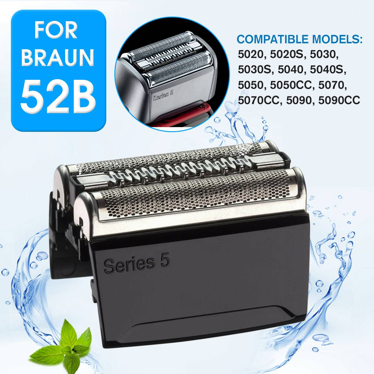 52B Replacement Shaver Foil Cutter Head For Braun Series 5 5020 5020s 5030 5030s 5040 5040s 5050 5050cc 5070 5070cc 5090 5090cc