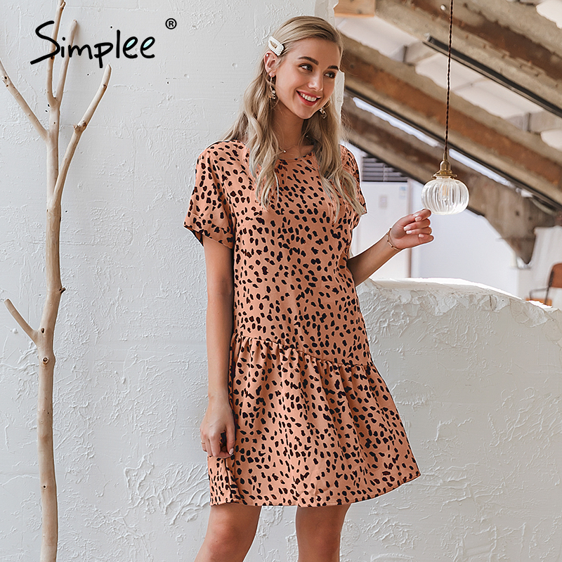 Simplee Casua Leopard Print Women Dress Daily Office Lady Vintage Short Sundress Summer Holiday Cool Ladies Boho Dresses 2020