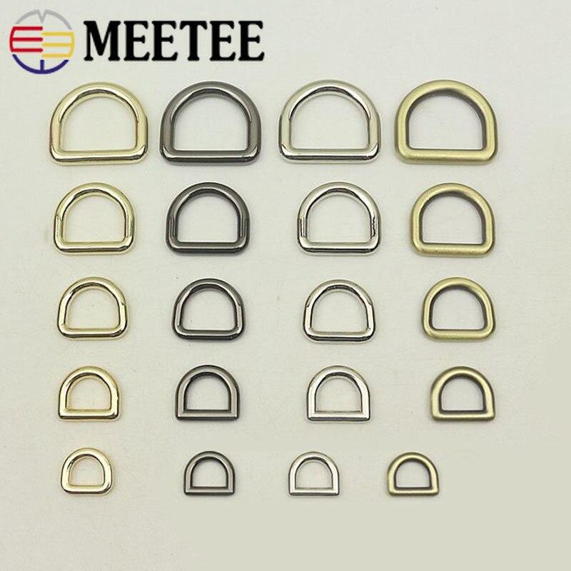 Meetee-hebillas de anillo de Metal D, 10 Uds., 10-25mm, bolsos, mochila, correa, Collar de perro, cierre de correa, bricolaje, G7-3 Artesanal de cuero