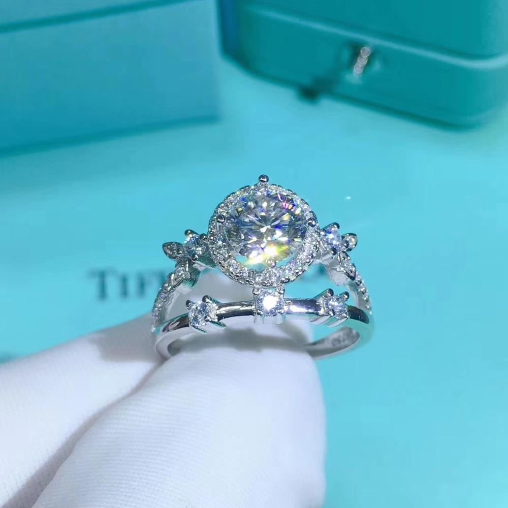 Poetry Of Jew Store Round Silver Moissanite Ring 1ct D VVS Luxury Moissanite Weding Ring for Women image