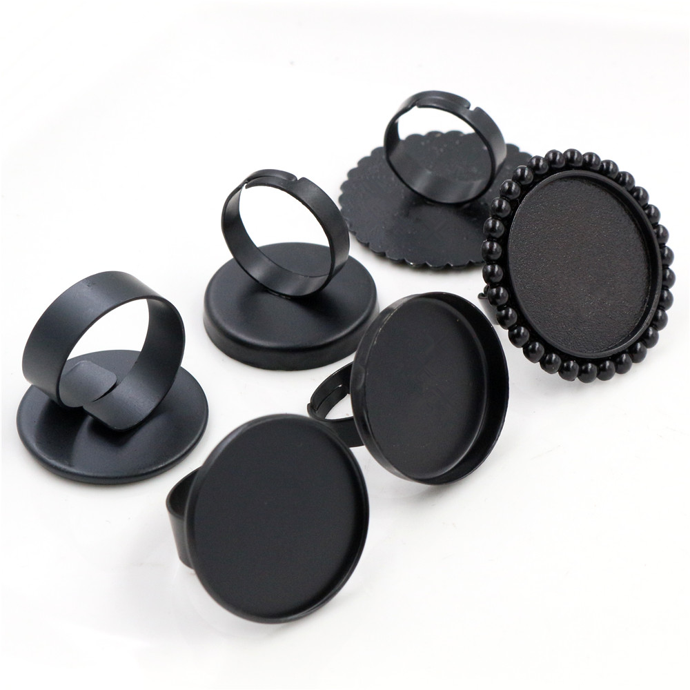 25mm 4pcs Black Plated 3 Style Brass Adjustable Ring Settings Blank/Base,Fit 25mm Glass Cabochons,Buttons;Ring Bezels