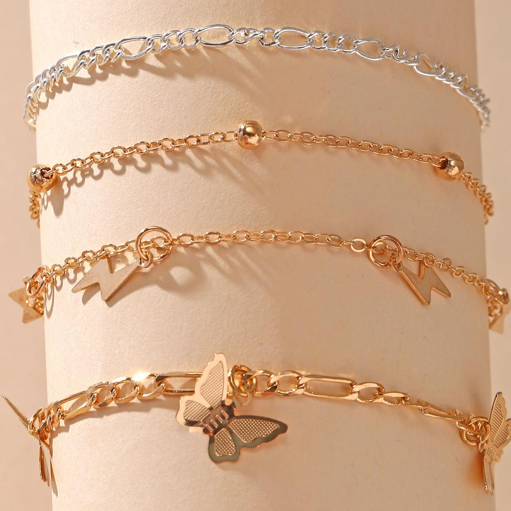 17KM Fashion Butterfly Anklet Set for Women DIY Gold Chain AnkletS 2020 Heart Foot Bracelet Beach Anklet Bohemian Jewelry 4