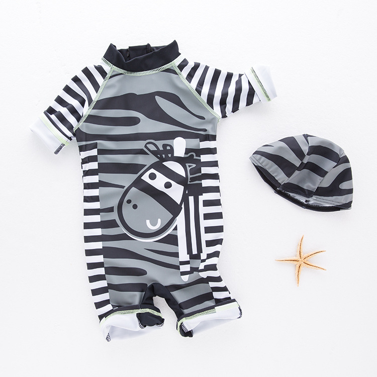 BOY'S Sun-resistant Bathing Suit Children One-piece Swimming Suit Stripes Animal Donkey Swimwear Fashion-Japanese And South Kore