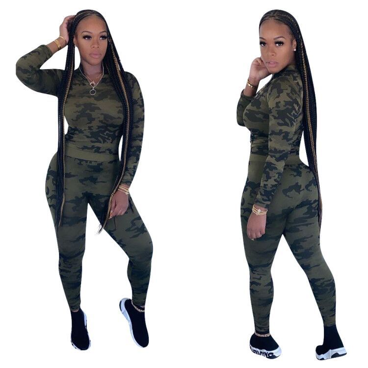 Casual Autumn Camouflage Two Pieces Set Sweater +Long Pants Fitness Tracksuits Clothes For Women Sportsuit Outfit
