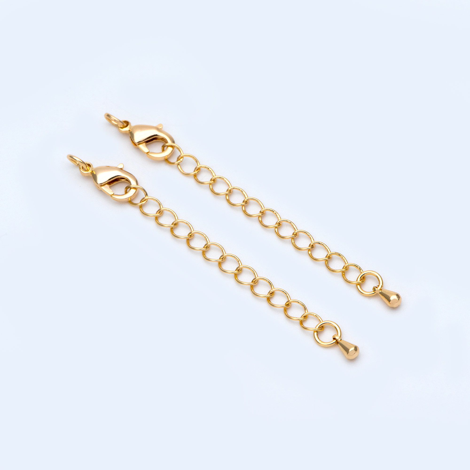 10pcs Lobster Claw Clasps With Extender Chain 72mm, Gold Plated Brass, 3.8mm Wide Extension Chain With Jump Rings (GB-1013)