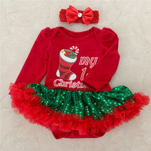 Newborn Baby Dress Christmas Clothes Sequined Red Lace Tutu for 1st Birthday Party Wear Costume