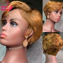 شعر مستعار طبيعي مموج ، أشقر عسلي ، 13 × 2 ، شعر قصير ، لون #27 ، إغلاق 4 × 4 ، منتف مسبقًا ، للنساء