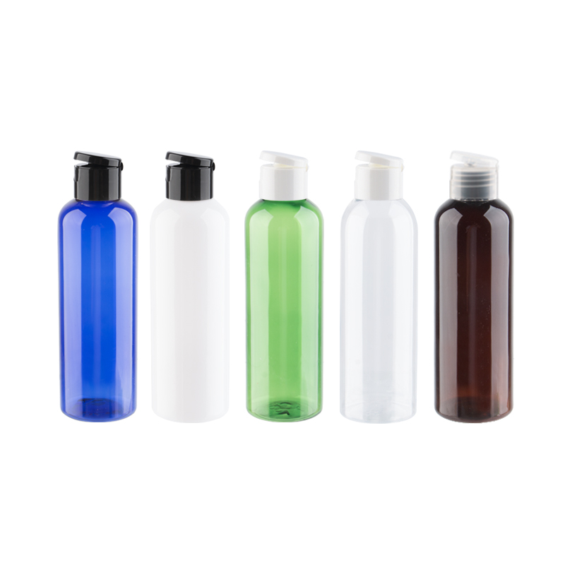 200ml 30pcs lot Empty Clear Amber Refillable Cosmetic Bottle With Plastic Flip Top Cap 200cc Capacity