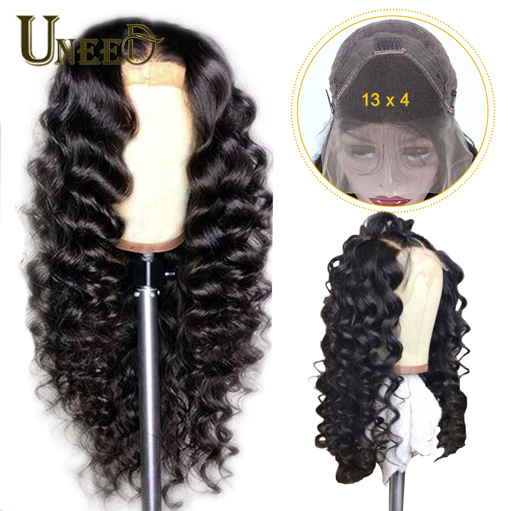 Uneed 13x4 Lace Front Human Hair Wigs Brazilian Loose Deep Wave Hair150% Density Pre-plucked With Baby Hair Remy Hair  For Women