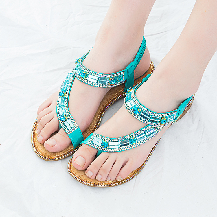 Summer New Style Casual Women Shoes Bohemian Style Fish Mouth Rhinestone Beads Beach Women Sandal X9X80304