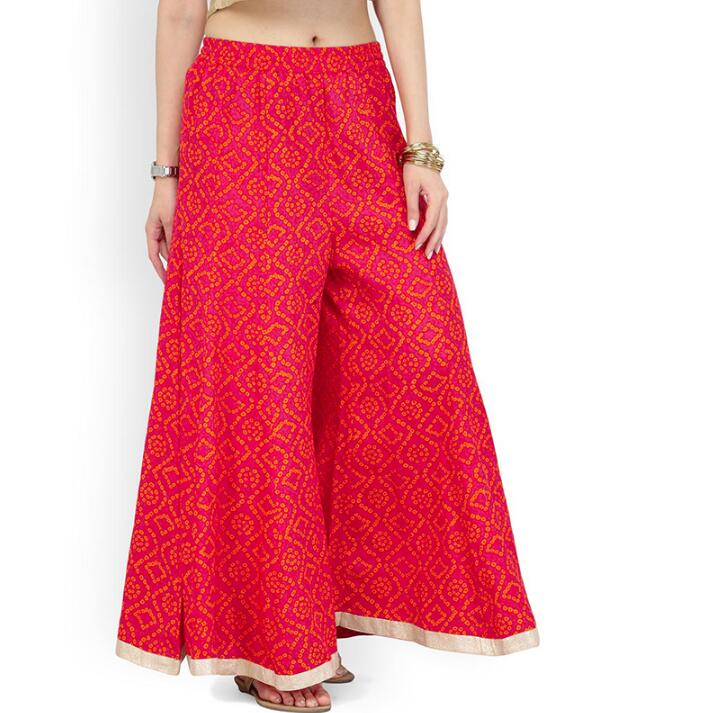 Woman Fashion Ethnic Styles Bottoms Cotton Pants India Kurtas Summer Autumn Red Thin Broad-legged Trousers