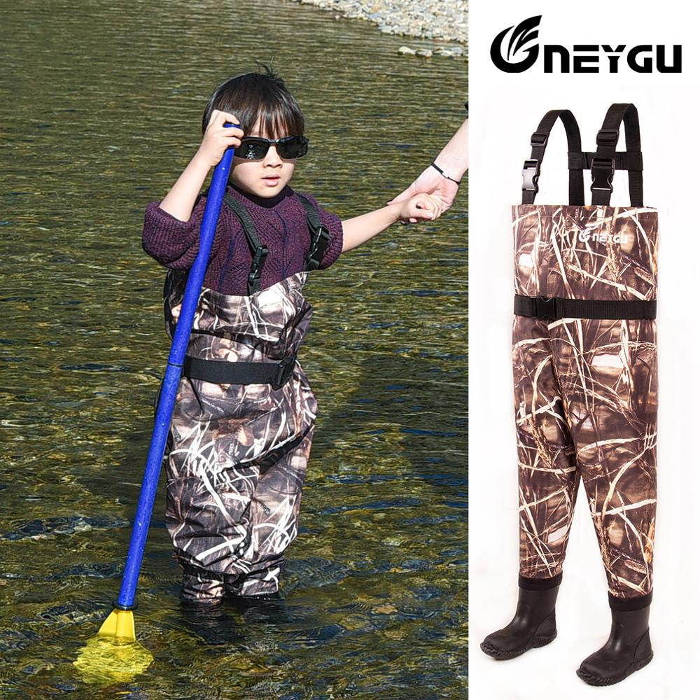 NEYGU kids Waterproof wading pants with Winter Boots, Breathable 