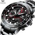 レロジオ Masculino NEKTOM 新スポーツクロノグラフメンズ腕時計高級フルスチールクォーツ時計時計防水ビッグダイヤル腕時計男性