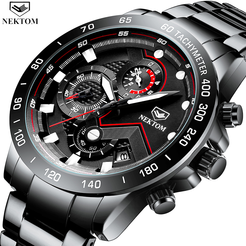 Relogio Masculino NEKTOM New Sport Chronograph Mens Watches Luxury Full Steel Quartz Watch Clock Waterproof Big Dial Watch Men