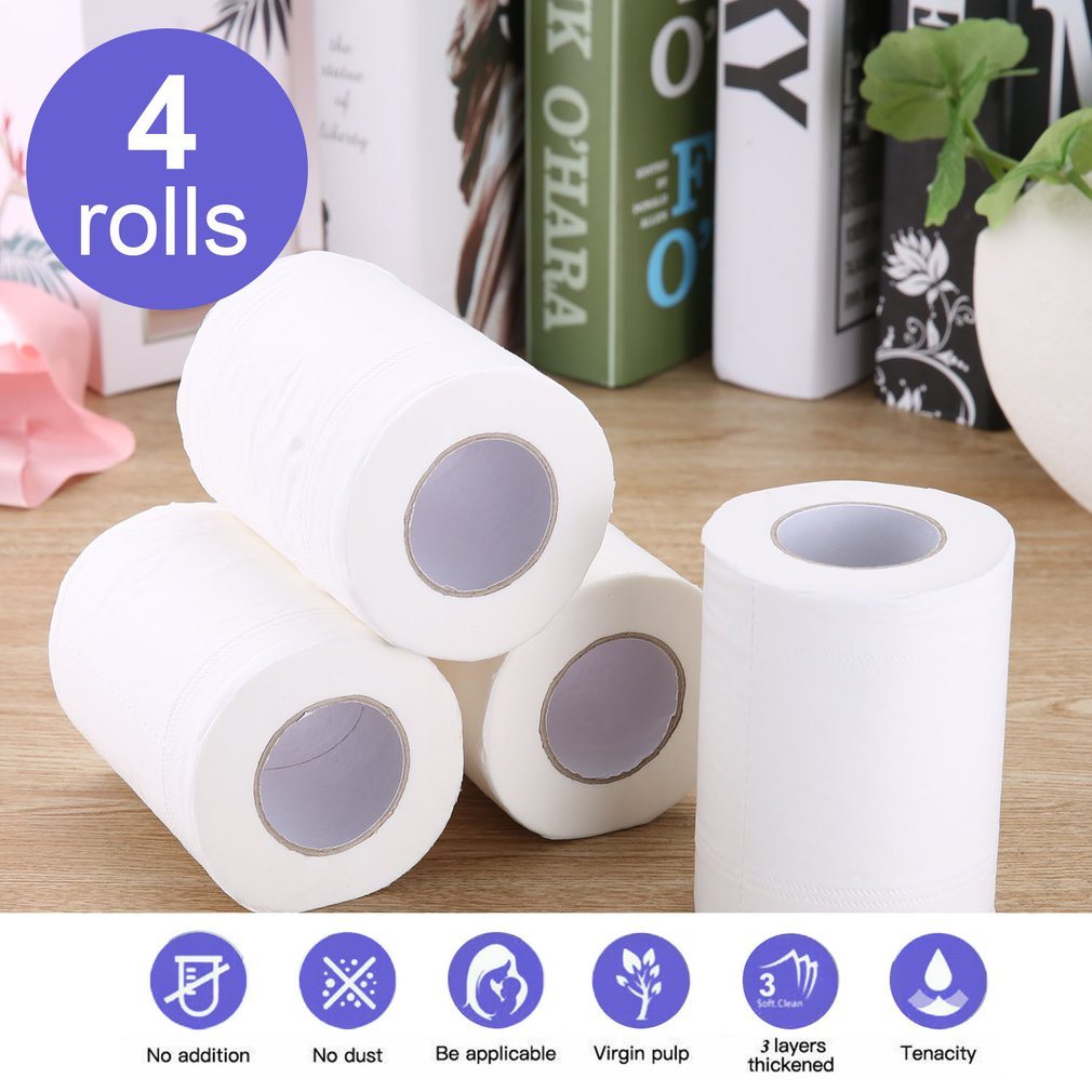 4 Rolls Natural Paper Towels Portable High Quality Toilet Paper For Office For Family Restaurant Paper Towel