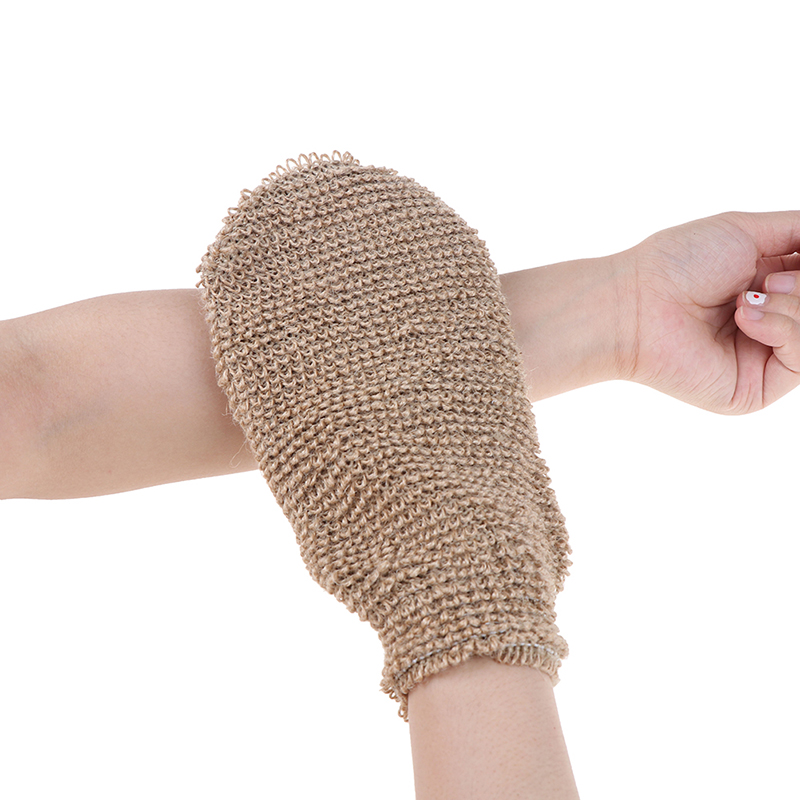 1pcs Exfoliating Hemp Glove Mitt Mitten Bath Sponge Scrubber Remove Dead Skin Deep Clean & Invigorate Your Skin Double Side
