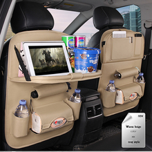 Car Car Mounted PlateTable Pu Leather Foldable For Car Back Seat Multi-functional Storage Cup Holder Laptop Tablet Phone Holder