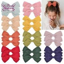Nishine 2 sztuk/partia śliczne 3.6 Cal Solid Color Cotton Linen Bow szpilka dziewczynek spinki do włosów akcesoria do włosów dla dzieci Photo rekwizyty