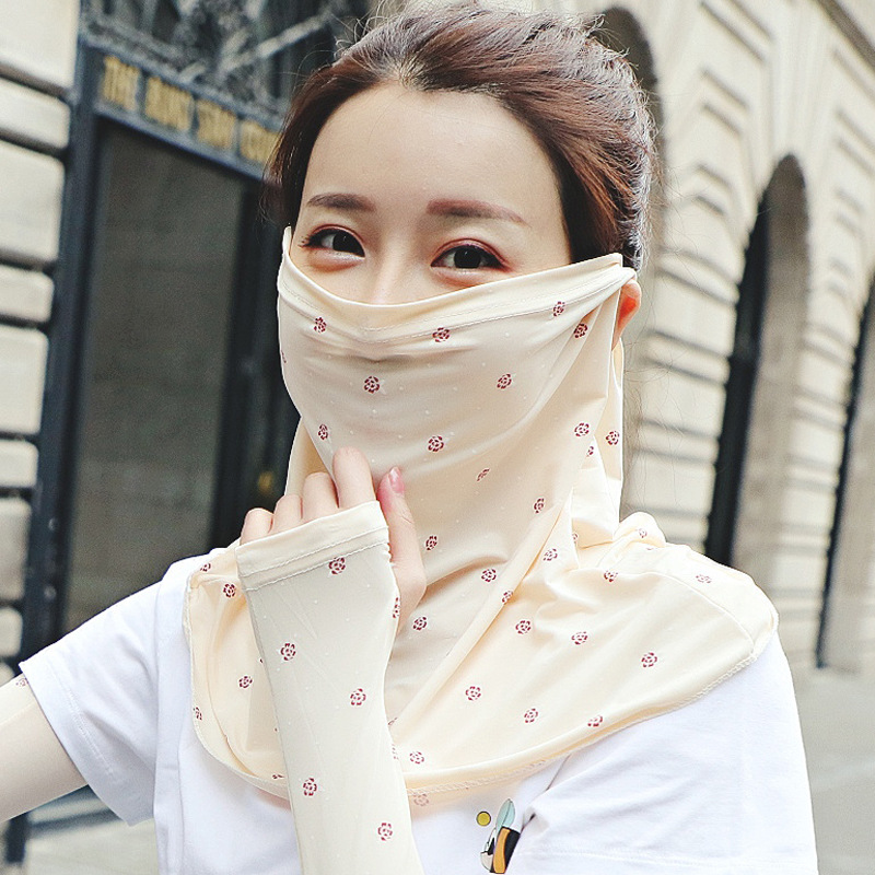 Summer Sunscreen Small Flower Face Mask Female Neck Protection Sunscreen Mask Full Face Anti-ultraviolet Sunscreen Female