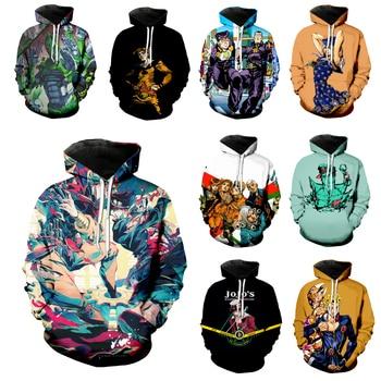 JoJo Bizarre Adventure Hoodies Men Women Kujo Jotaro Sweatshirt 3D Print Anime Unisex Long Sleeve Sports Top Loose Pullover C04