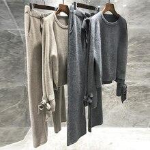 CBAFU ensemble tricoté en laine 2 pièces pour femmes, pull over ample, pantalon de rembourrage, élastique, P577