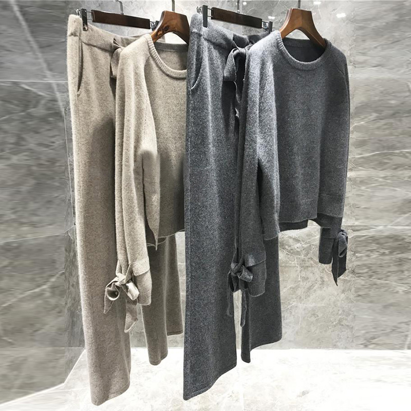 CBAFU High Quality Wool Knitted 2 Piece Set Cashmere Loose Sweater Pullover Elastic Wiast Pants Suit Women Tracksuit P577