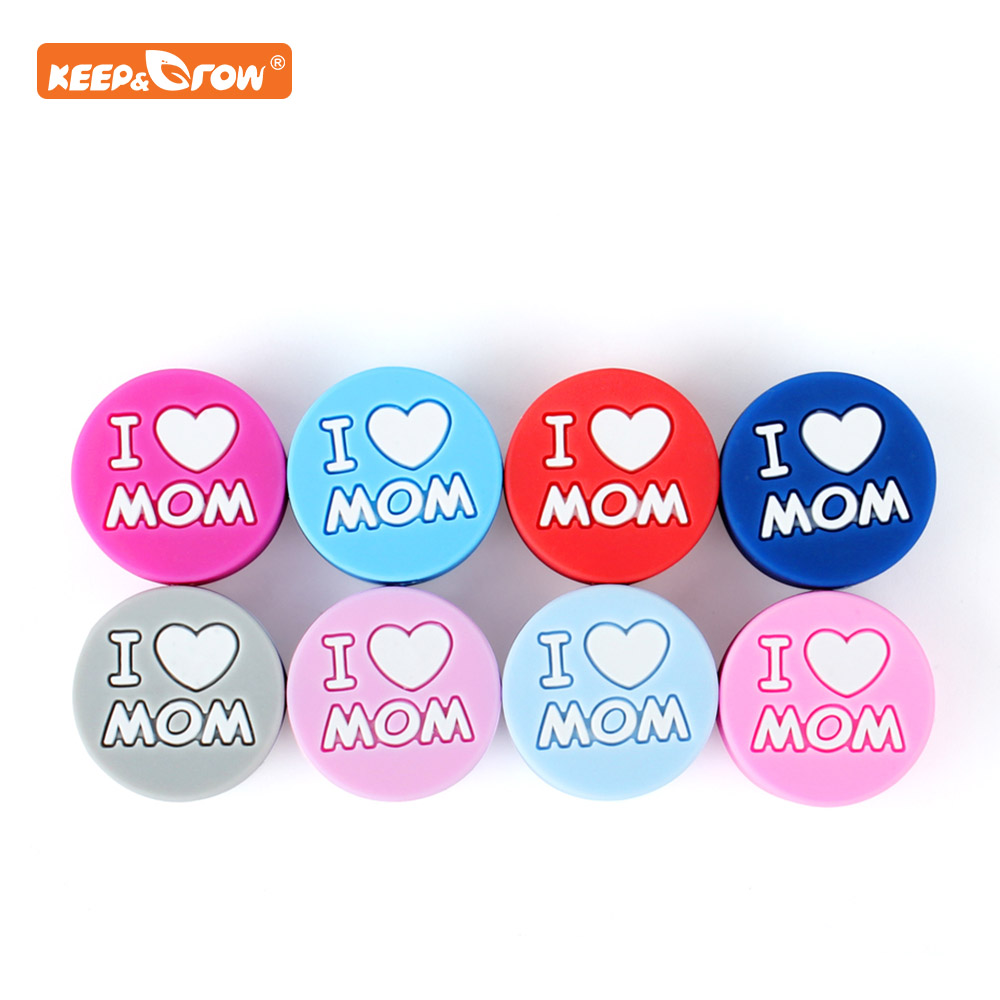 Keep&grow 10Pcs I Love Mom Silicone Beads Baby Products Teething Toys For DIY Jewelry Making BPA Free Mordedor Silicone Beads